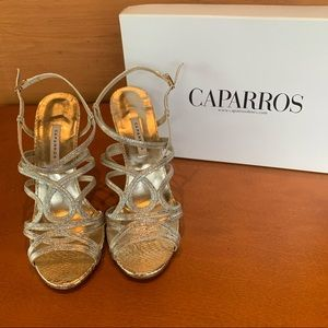 Caparros Gold and Silver Strappy Heels